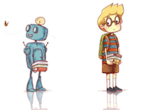 A kid and his robot friend.