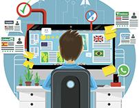 Ilustración vectorial sobre trabajos de medio tiempo