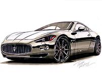Processo de ilustração com marcadores - Maserati
