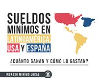 Infografia, Sueldos en Latinoamérica Usa y España.