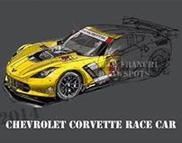 Corvette handmade drawing