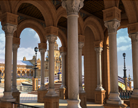 3D Columnata edificio central plaza españa Sevilla