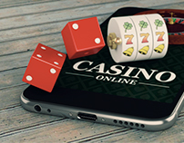 3d Smartphone with roulette and dice. Casino