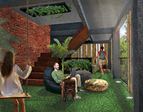 Diseño interior de hall, Playground hostel, Tailandia.