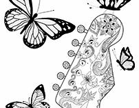 guitar and butterflies
