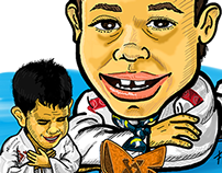 Caricatura - Enzo campeão do PAN KIDS 2014
