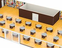 3d render  - Maqueta restaurante Sala Mexicana