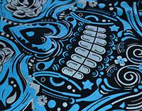 BLUE MEXICAN SKULL TSHIRT
