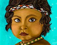 ilustración de niña Yanomami