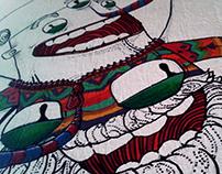 """""""En el espacio"""" pintura sobre muro"""