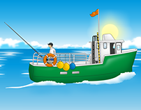Fisher boat and sea animals for videogame