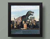 Um T-Rex em Manhattan - Colagem