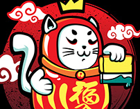 Cat Daruma illustration