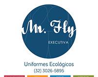 Adesivo para entrada da loja Mr Fly moda sustentável