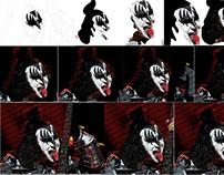 Gene Simmons rock icon realistic digital illustration
