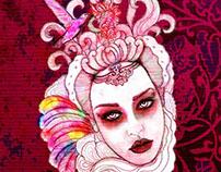 ilustración, retratos, moda mujer