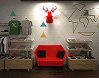 3D illustration // retail stores concept