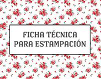 Ficha técnica para estampación textil