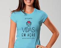 Logotipo, camisas e cia do Projeto Social Vidas em Ação
