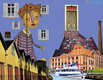 Collage: Porto Alegre, cores e construções.