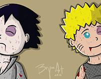 Naruto y Sasuke. Los cacahuates.