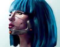 Ilustrando con una Wacom cool. Robot Girl