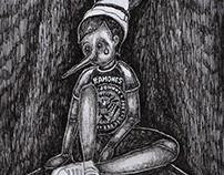 """Pinocho. (ilustración para tapa del ep """"Mitomanias"""")"""