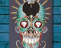 Original painting ornamental skull