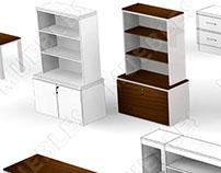 Modelado Inorgánico : Mesas, escritorios y estante.