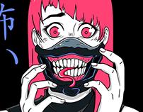 creepy anime horror girl Scary face mask