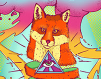 Psychedelic Fox Illustration