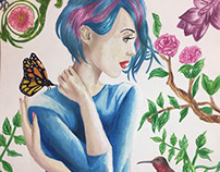Watercolor painting. Blue haired girl in nature