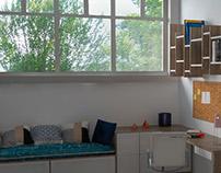 bookshelves and desk