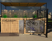 Diseño Proyecto Franquicia de Cafes con tema de bicicl