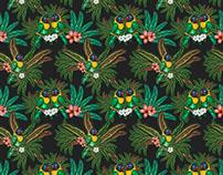 Estampa pássaros tropicais