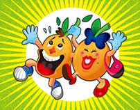 Ilustración y vectorización de dos naranjas muy unidas