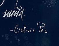Octavio Paz 100th anniversary. Calligraphic quote