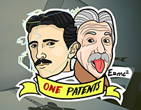 "Ilustration for a sticker of ""One Patents"" company"