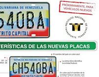 """Afiche """"Nuevas Placas para su vehículo"""" para INTT"""