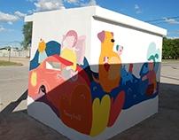 Bus stops mural paintings.