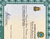 Certificado de letras.