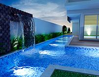 Render 3D de piscina.