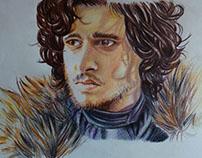 Jon Snow colored pencils portrait