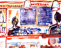 Cafe in London ( watercolour / pen )