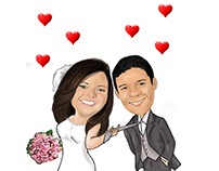 Caricature of the couple digital painting