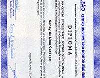 Diploma de Conlcusão do curso de Psicologia.