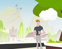 Ilustração de cenário e personagem para motion graphics