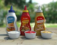 Frasco Maionese, Ketchup e Mostarda... Realista 3D