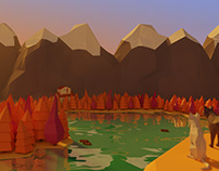 Low poly land scape