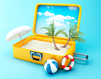 Paradise beach in travel suitcase. Summer Vacation